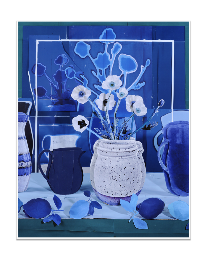 Still Life with White Poppies and Blue Lemons