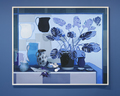 Blue still life with philodendron and fish